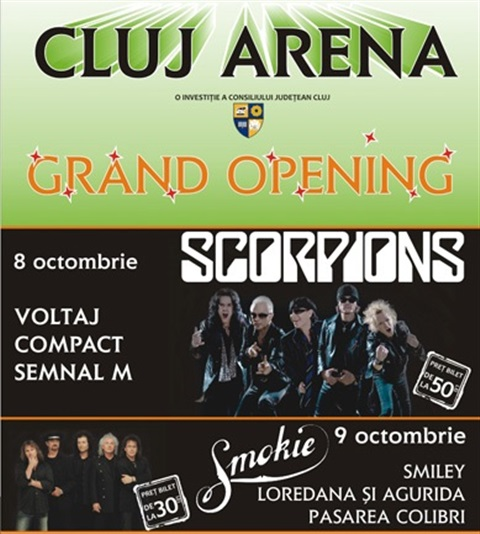 Concert Scorpions si Smokie la Cluj Arena